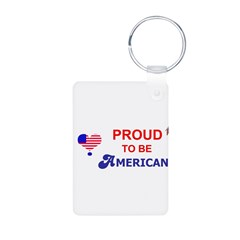 PROUD TO BE AMERICAN Aluminum Photo Keychain