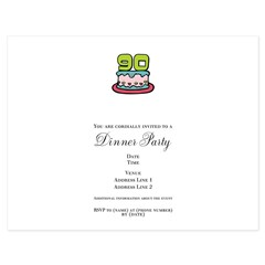 90th Birthday Cake 5.5 x 4.25 Flat Cards