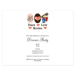 Peace Love Movies 5.5 x 4.25 Flat Cards