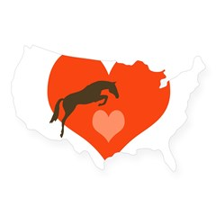 horse hearts Oval USA Sticker
