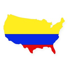 Colombian Flag Rectangle USA Sticker