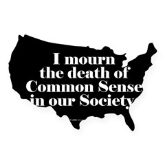 Common Sense Died Rectangle USA Sticker