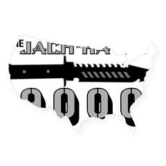 Jack Hawk Rectangle USA Sticker