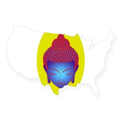 purple buddha Oval USA Sticker