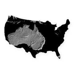 Australia Relief Map Rectangle USA Sticker