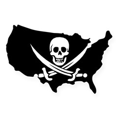 Old Jolly Roger Pirate Flag USA Sticker