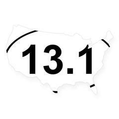 Half Marathon 13.1 White Oval USA Sticker