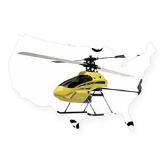 Helicopter Rectangle USA Sticker