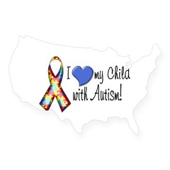 I love my child with autism Rectangle USA Sticker