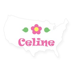 "Pink Daisy - ""Celine"" Rectangle USA Sticker"