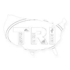 Triathlon Oval USA Sticker