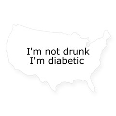 Diabetic Info Rectangle USA Sticker