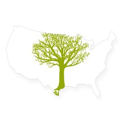 TREE hugger (lime) Rectangle USA Sticker
