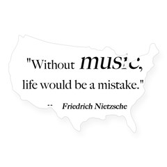 Without music, life is a mist Sticker (Rectangular USA Sticker