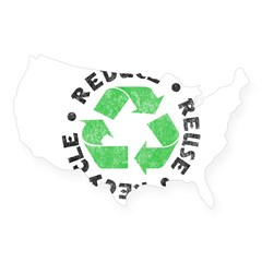 Recycle! Rectangle USA Sticker