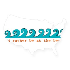 I'd rather be at the beach Rectangle USA Sticker