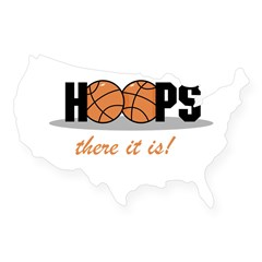 Hoops There It Is Rectangle USA Sticker