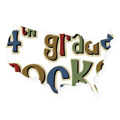 4th Grade Rocks Fourth School Sticker (Rectangular USA Sticker