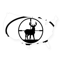Hunting Stag Oval USA Sticker