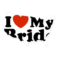 I Love My Bride Rectangle USA Sticker