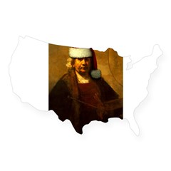 Rembrandt Santa Rectangle USA Sticker