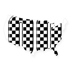 Race Car #00 Rectangle USA Sticker