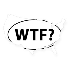 WTF? Auto Sticker -White (Oval) USA Sticker