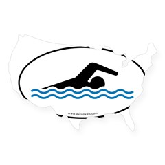 Swimming Auto Decal -White w/ Blue Water (Oval) USA Sticker