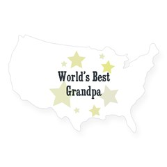 World's Best Grandpa Rectangle USA Sticker