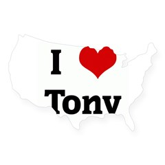 I Love Tony Rectangle USA Sticker