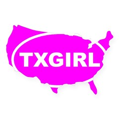 TX GIRL Pink Euro Oval USA Sticker