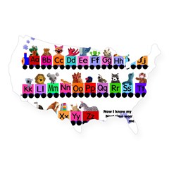 Alphabet Train Rectangle USA Sticker