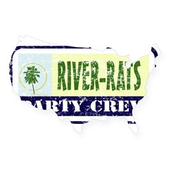 River Rat Rectangle USA Sticker