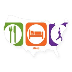 Eat Sleep Yoga Rectangle USA Sticker