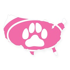 Pink Paw Print Oval USA Sticker