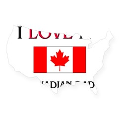 I Love My Canadian Dad Rectangle USA Sticker