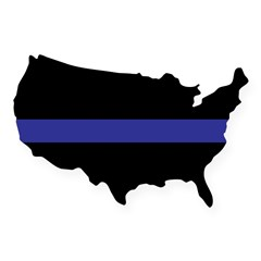 Thin Blue Line Rectangle USA Sticker
