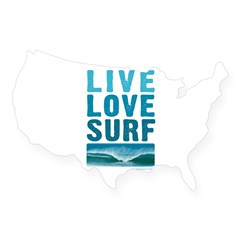 Live, Love, Surf - Rectangle USA Sticker