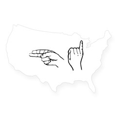 ASL greeting Rectangle USA Sticker