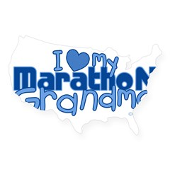 I Love My Marathon Grandma Rectangle USA Sticker