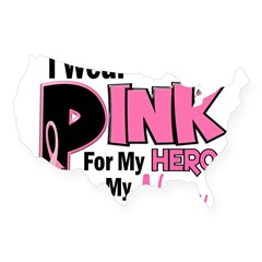 I Wear Pink For My Nana 19 Rectangle USA Sticker