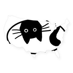Upside-Down Cat Oval USA Sticker