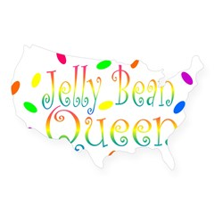 Jelly Bean Queen Rectangle USA Sticker