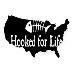 Hooked for Life Oval USA Sticker