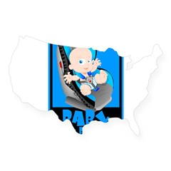 Baby Onboard - Blue Rectangle USA Sticker