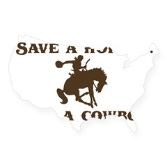 Save a horse Ride a cowboy Sticker (Rect.) USA Sticker