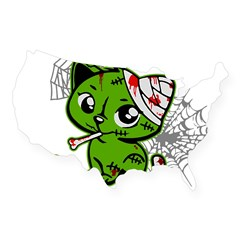 Zombie Kitty Rectangle USA Sticker
