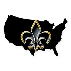 Fleur de Lis on BLK Oval USA Sticker