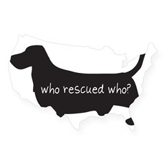 "Sticker: ""Who rescued who?"" USA Sticker"