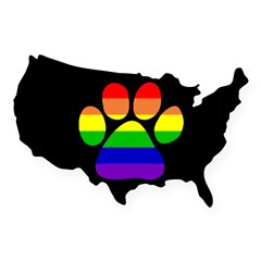 Paw Pride - Black Small USA Sticker